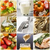 image of healthy food  - healthy food collage made from nine photographs - JPG