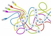 Постер, плакат: 3D графика безвкусные звездочке узлов в сетевой кабель хаоса