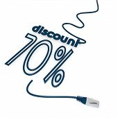 3d graphic of a -70 discount icon with cat5 network cable poster