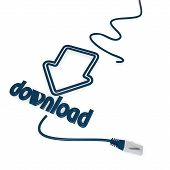 download symbol with cat5 network cable poster