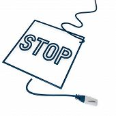 Illustration of a isolated stop symbol with cat5 network cable poster