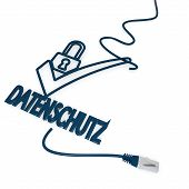 datenschutz(english data protection) symbol with cat5 network cable poster