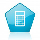calculator blue pentagon web glossy icon