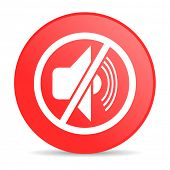 mute red circle web glossy icon