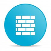 firewall blue circle web glossy icon