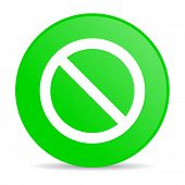 access denied green circle web glossy icon