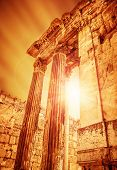 Temple of Jupiter on sunset, ancient historical roman city, Heliopolis ruins, Lebanon Baalbek, old c