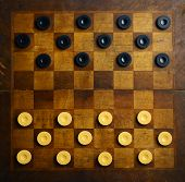 stock photo of draught-board  - Color shot of a vintage draughts or checkers board game - JPG