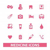 medicine, health icons set, vector