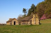 picture of revolutionary war  - Reproductions of cabins used by Revolutionary War soldiers during the winter of 1777 - JPG