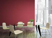 image of niche  - dining room with burgundy walls 3d rendering - JPG