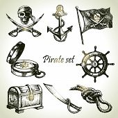 stock photo of skull crossbones flag  - Pirates set - JPG
