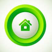 Green plastic vector home round button
