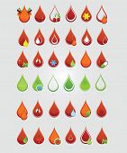 pic of hemoglobin  - colored creative blood medic drops sign set - JPG