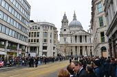 LONDON - UK, APRIL 17: The crowd waits for Baroness Thatcher funeral procession on Ludgate Hill, on