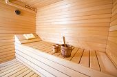 stock photo of sauna  - wooden interior of sauna wide angle shoot - JPG