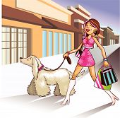 stock photo of stripping women window  - Super Hip shopper walking her dog and shopping at the local strip mall. Store sign open to add text.
