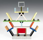 picture of shelving unit  - Modern Style Italian Design shelving unit overlayed with multi - JPG