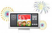 Illustration of a scoreboard with the Singaporean flag and the three kids on a white background