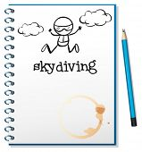 Illustration of a notebook with an image of a person skydiving on a white background