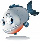 stock photo of piranha  - Illustration of a big gray piranha on a white background - JPG