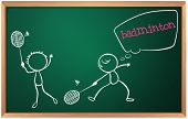 foto of game-cock  - Illustration of a blackboard with a drawing of two boys playing badminton on a white background - JPG