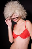 Young Girl In Glasses And Furry Hat poster