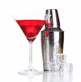 stock photo of cocktail  - Cocktail shaker and cocktail isolated on white - JPG