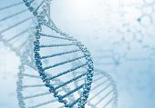 stock photo of encoding  - Digital illustration of dna structure on colour background - JPG