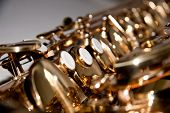 stock photo of saxy  - a golden shiny saxophone with three white buttons