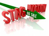 image of stagnation  - Arrow with phrase Big Sale breaks word Stagnation - JPG