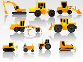 foto of bulldozer  - Set of simple icon of tractors bulldozers excavators and grader - JPG