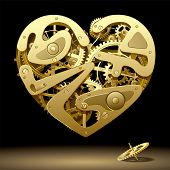 Isolated raster version of vector image of gold clockwork heart on the black background with a pinio