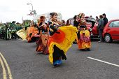HASTINGS, ENGLAND - MAY 7: Dancers perform during a parade on the West Hill at the annual Jack In Th