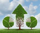 image of asset  - Investing for growth business concept with trees shaped as a financial pie chart transferring and lending assets to a growing arrow shaped plant as an idea of growing wealth strategy on a sky - JPG