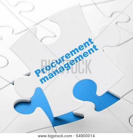 Business concept: Procurement Management on puzzle background