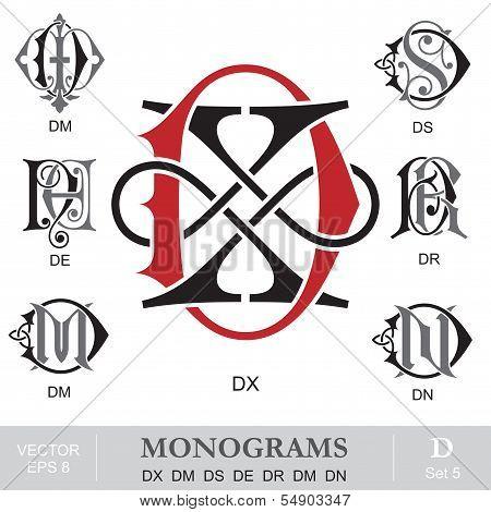 Vintage Monograms DX DM DS DE DR DM DN