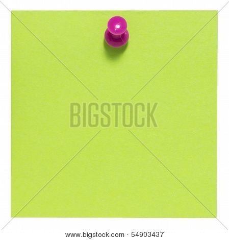 Flat green square sticky note, with pink pin, isolated on white background