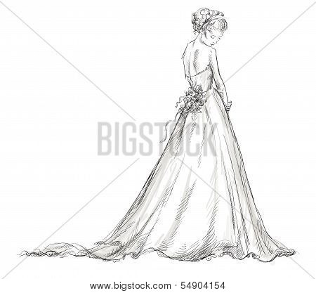 Bride. Beautiful young girl in a wedding dress. EPS 10 vector illustration.