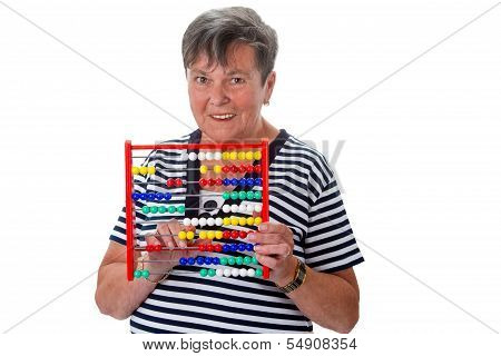 Senior Woman Calculating With Abacus