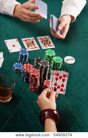 Cards, Colorful Poker Chips And Alcohol