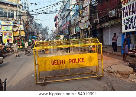 Road Barriers Of Delhi Police Stands Around The Old Part Of The Town To Be Available In Case Of Atta