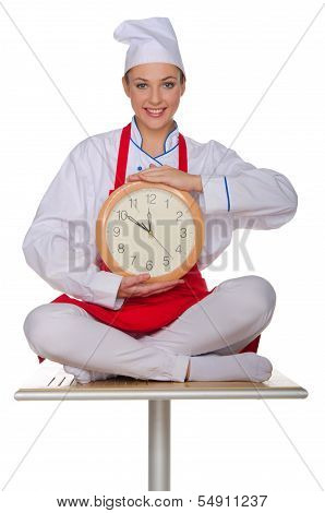 Smiling Chef With Clock