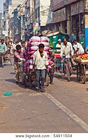 Pushcart Driver With Load In Chawri Bazar, Delhi Early Morning