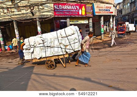 People On The Street Of Chawri Bazar, The Wholesale Market Of  Old Delhi