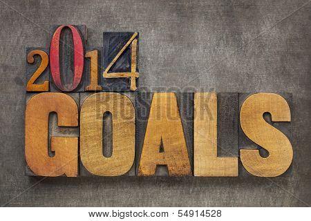 texto de 2014 objetivos - concepto de resolución de año nuevo - en bloques de madera tipo vintage tipográfica contra grun
