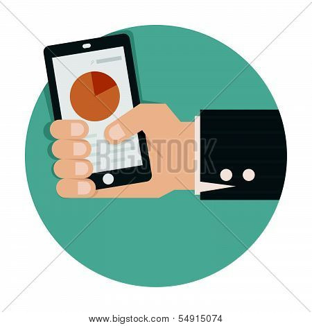 Hand holding smart phone with success growth