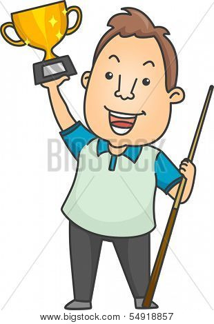 Illustration of a Man Holding a Cue Stick in One Hand and a Trophy in the Other