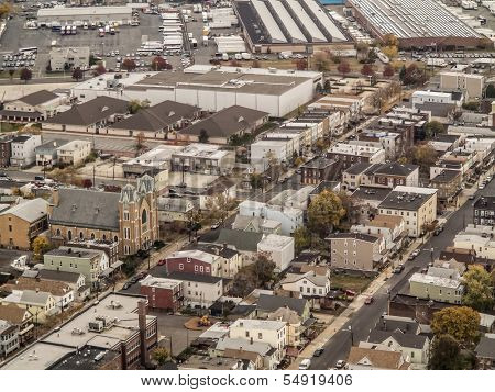 aerial view of established town in new jersey