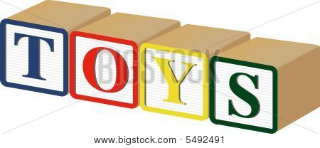 Toys Written With Baby Blocks: Vector